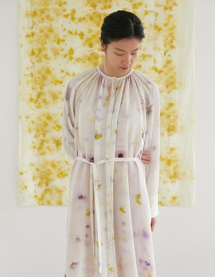 teak) eco-printing silk shirring dress