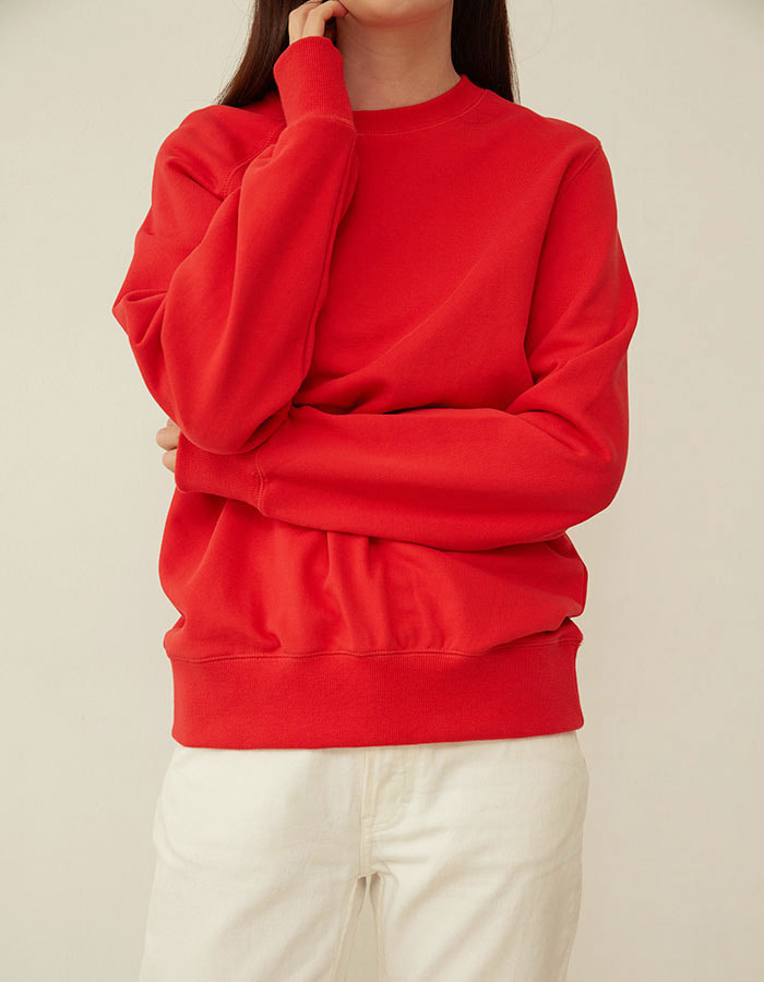 al,thing) half sweat shirt - red(B급) - 재고 4