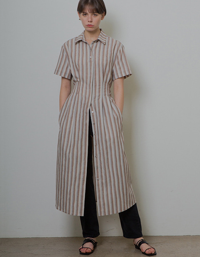 Ma Journee) CRINKLE SHIRT ONE-PIECE_STRIPE