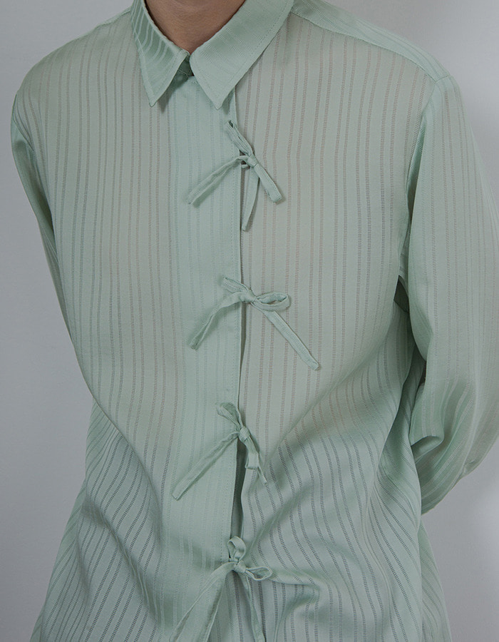Ma Journée) RIBBON BLOUSE_MINT