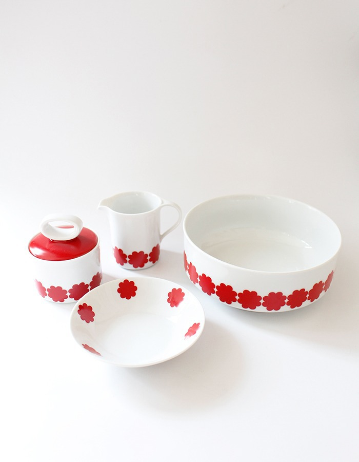 Eschenbach) vintage red flower dessert bowls & jug & sugar pot & bowl